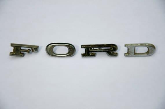 Vintage ford chrome letters henry ford car letters metal for Ford motor co parts dept