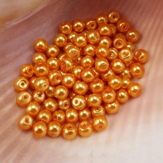 4mm glass pearls light burnt orange 100 pieces dusty Light burnt orange paint