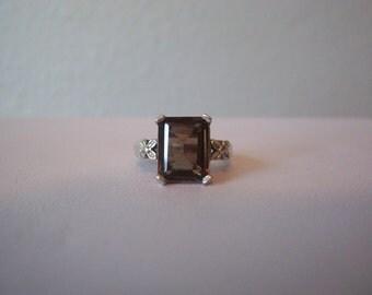 Vintage 4 Carat Emerald Cut Smoky Quartz Ring in Sterling Silver