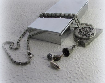 Bullet in the Machine – Long Steam Punk Pendant Necklace