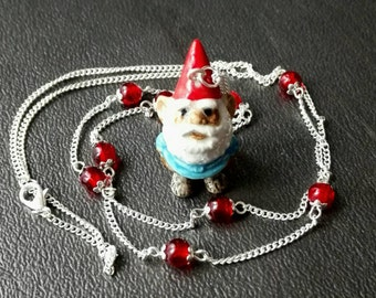 Extralong necklace hand made porcelaine lovely dwarf