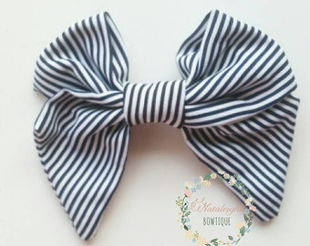 Black and White Stripe Bow - Fabric Bow - Tail Bows - Sailor Bows - Hair Bows - Girls Bows - Photo Props - Girls Accessories - Stripe Bows
