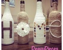 Twine HOME wine bottles, upcycled wine bottles, house warming gift, twin, jute, wine, vase, wine bottle decor, centerpiece, farmhouse decor