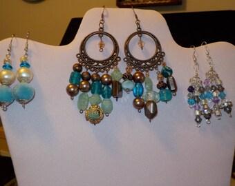 A Trio of Aqua Earrings