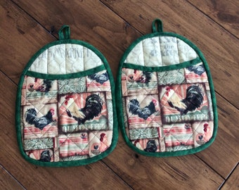Quilted Pot Holders, Hot Pads, Oven Mitts with Roosters, Red and Green Country Kitchen