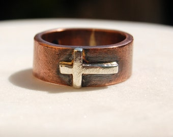 SILVER CROSS on COPPER  Band  - Silver Band with Silver Cross - For Men and Women