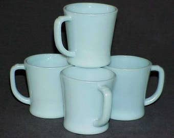Four (4) Fire King Turquoise Blue B1212 D-Handle Mugs - Cup FireKing by Anchor Hocking