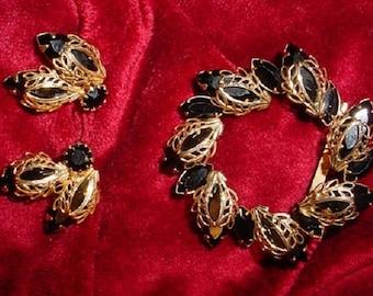 Black Rhinestone and Gold Filigree  Brooch and Earrings