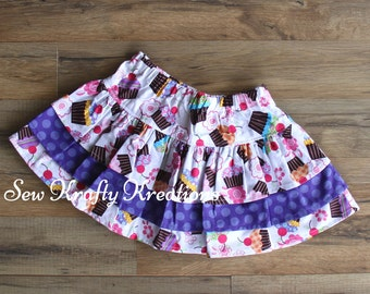 Children's - Cupcakes with Purpe - 3 Tier Skirt