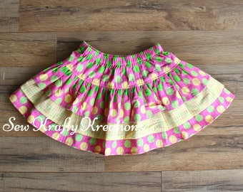 Children's - Pink with Yellow and Green Spots and Yellow Plaid 3 Tier Skirt