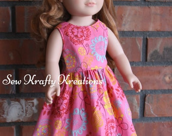 """Pink with Multicolor Flowers Doll Dress for 18"""" doll like American Girl"""