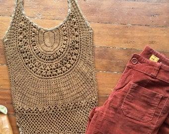 Vintage Crochet Halter Top - 60s brown halter top hippie boho knit