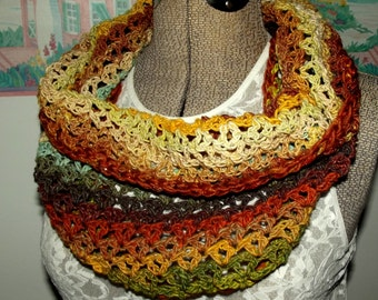 Handmade Crochet Cowl, Noro, Orange, Gold, Green, Plum, Cream, Brown, Scarflet, Collar