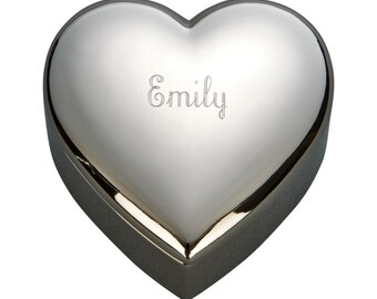Heart Shaped Trinket/Jewelry box 2-1/2, Free Engraving