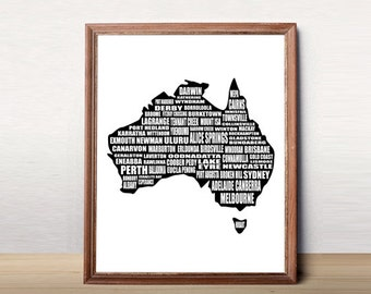 Australia map wall decal map of all australia with major Home decor wall decor australia