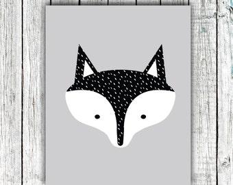 Children's Printable, Modern, Fox, Gender Neutral, Black and White, Digital Download Size 8x10 #553