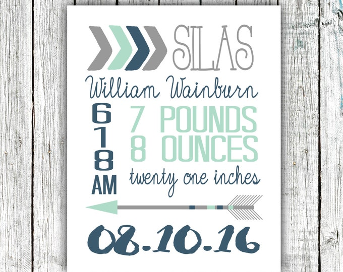 Birth Announcement Print, Birth Stats, Baby Boy, Arrows, Navy and Mint,  Customized Printable File  #06