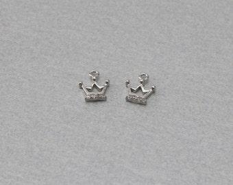 Crown Brass Pendant . Polished Original Rhodium Plated . 10 Pieces / C3120S-010