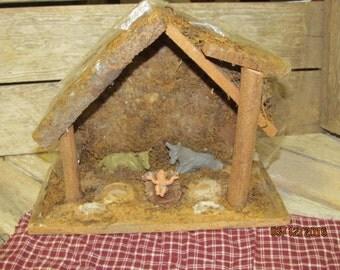 "Vintage Wood Nativity Creche 8"" tall Nativity Scene"