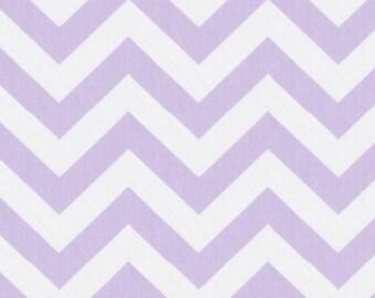 Lilac and White Zig Zag Organic Fabric - By The Yard - Girl / Purple / Fabric