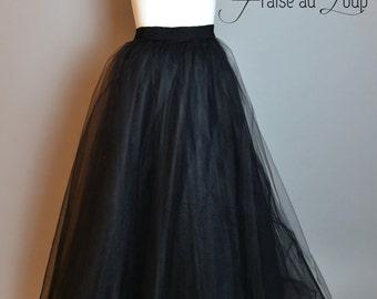 """Long Skirt - Long Tutu - Black Skirt - """"Fraise au Loup"""""""
