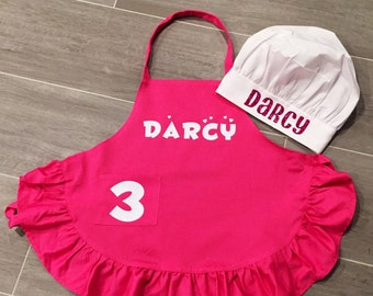 Personalized apron and chefs hat, kids chef hat, kids apron, child apron, apron, chef hat