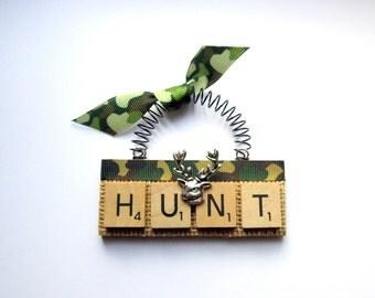Hunting Bear Deer Scrabble Tile Ornament