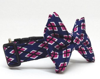 Dog Bow Tie Combo - The Fairwway - Argyle in Blue and Magenta