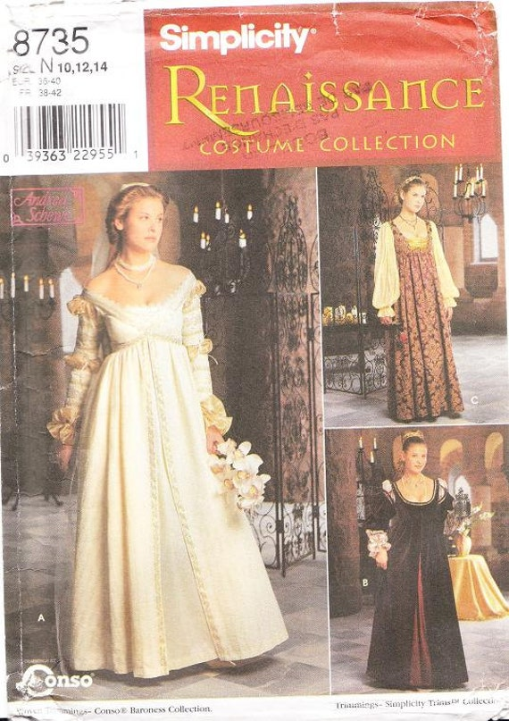 Simplicity 8735 Misses Renaissance Costume Pattern From