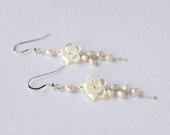 Plumeria Pearl Earrings, Plumeria Carved Shell Earrings, Hawaiian Plumeria Earrings, Frangipani Pearl Earrings, Beach Wedding Earrings