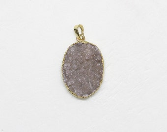 Druzy Drusy Pendant Drusy Geode With Electroplated Gold Edge 88