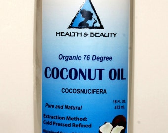 16 oz COCONUT OIL 76 DEGREE Organic Carrier Cold Pressed Refined 100% Pure