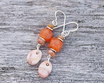 Peach Botswana Agate Earrings, Beach Pebble Earrings, Natural Stone Earrings, Drilled Beach Stone Earrings, Orange Earrings, Rustic Earrings