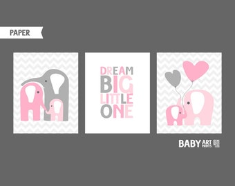 Pink and Grey Girl Nursery art, Elephants, Dream Big Little one, Set of 3 ( custom )