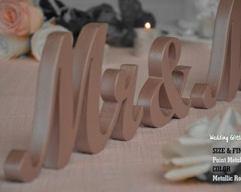 MR & MRS Rose Gold, Rose Gold Wedding Decorations, Rose Gold Sign, Rose Gold Centerpieces, Rose Gold