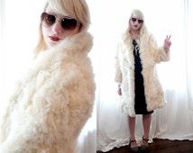 Vintage Curly Hair Lamb White Fur Shearling Jacket Coat Penny Lane Rocker Festival Groupie small medium