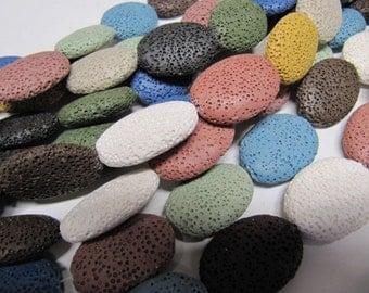 Lava Beads, All Natural, Multi Color, 26 X 19, 15 PC, Use With Essential Oils, Diffuser Beads, Diffuser Pendant, Diffuser Balls