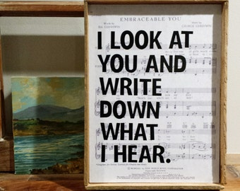 Rustic Sign  |  Wall Art Home Decor  |  I LOOK AT YOU  |  Vintage Sheet Music  | Romance Love Wedding