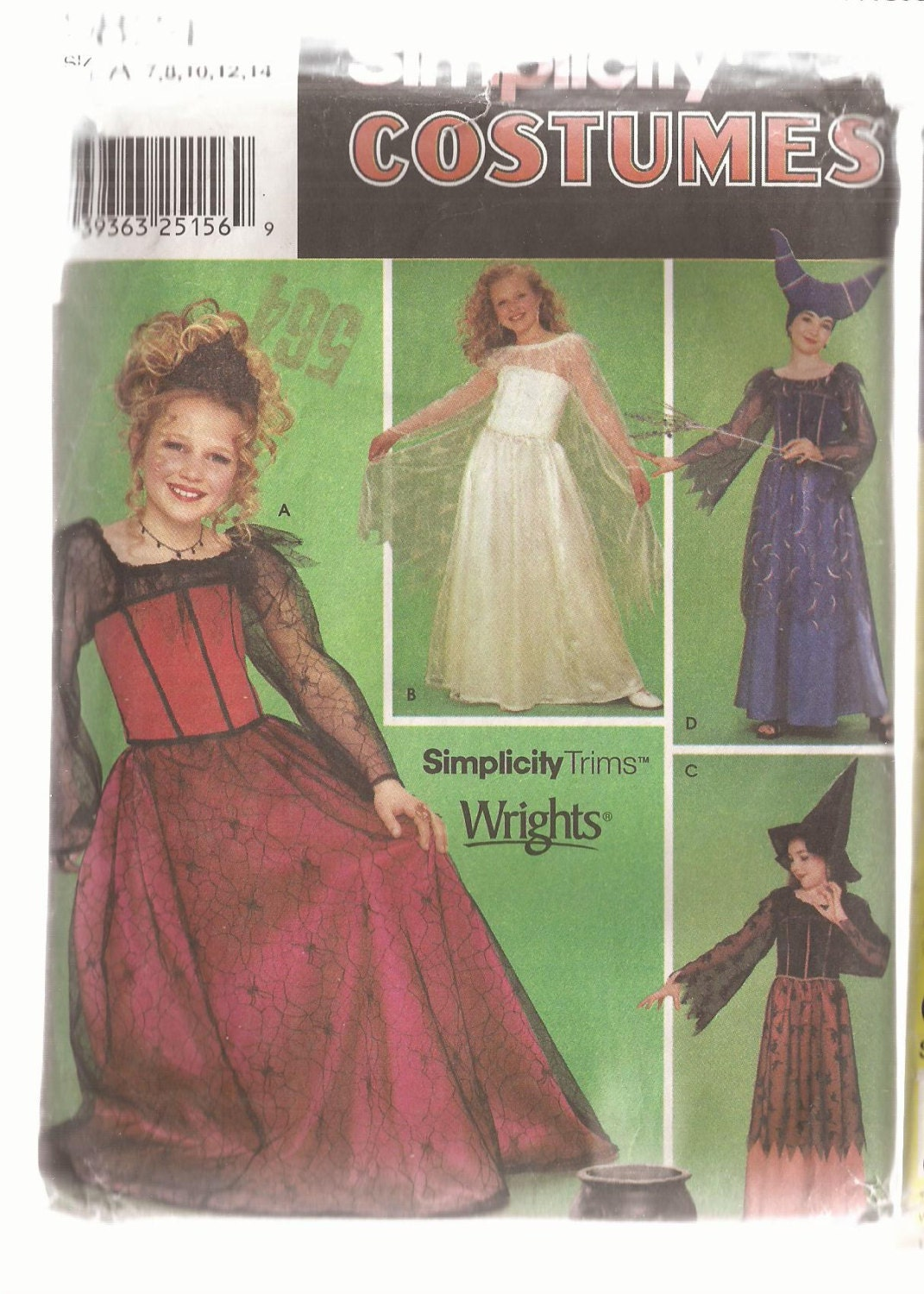 Simplicity 9824 Girls Princess and Witch Costume pattern Size 7-14 ...