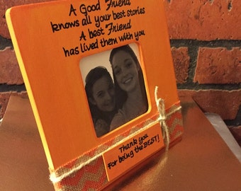Best Friend Gift, Personalized frame best friend, BFF GIFT,  Orange and chevron, Frame with burlap, Use your own quote frames, Picture frame