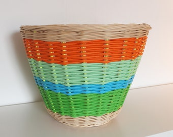 shopping cart/basket rattan and paper color