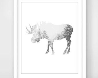 30% OFF SALE  Moose Winter Art, MOOSE Art, Moose Wall Art, Moose Print, Winter AnimalPrints, Moose Decor,  Printable Art, Winter Art