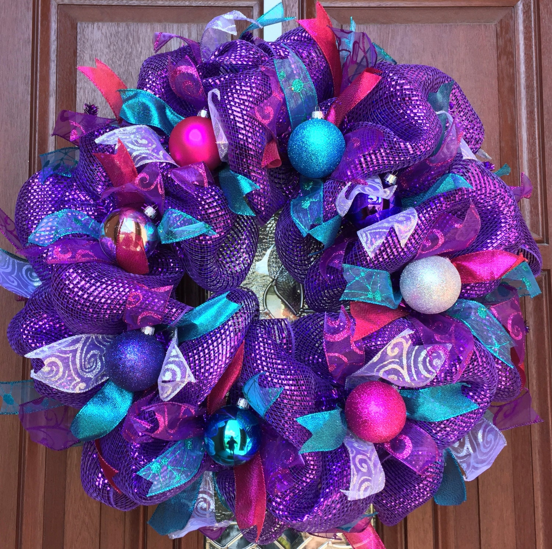 Purple Christmas Wreath Metallic Purple Deco Mesh Purple