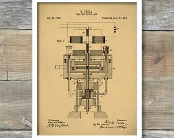 Tesla Electric Generator Patent Print, Tesla Poster Patent, Tesla Print, Tesla Art, P-279
