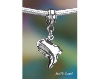 Sterling Silver Drum Majorette Boot Charm or European Style Bracelet