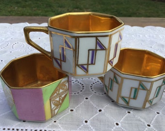 Four demitasse cups from Germany - gilt interiors