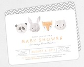 Woodlands Baby Shower Invitation, Neutral Baby Shower, Boy Baby Shower, Printable Invitation, PDF Invitation, Animal, Watercolor, Fox, Panda