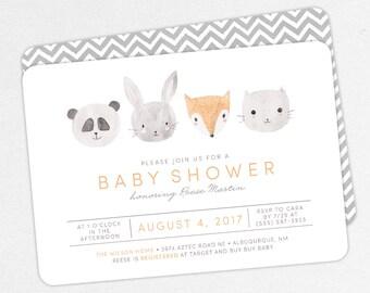 Woodlands Baby Shower Invitation, Neutral Baby Shower, Boy Baby Shower, Printable Invitation, PDF Invitation, Animal, Watercolor, Fox, Panda