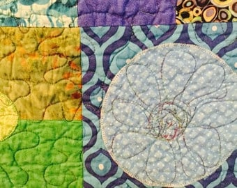 Quilt Seascape of blue and green circles hand made and appliqued