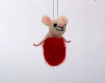 Miniature felt mouse, christmas tree ornaments, Miniature animals Christmas decor.